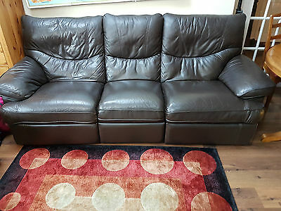 Brown leather 3 seater sofa recliner