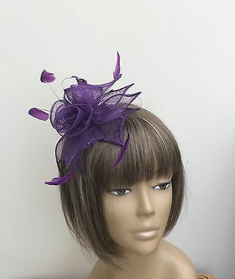 New Purple Sinamay and Feathers Fascinator Mother Of The Bride/Groom Weddings