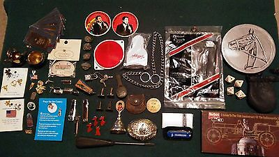 Vtg Collectible Junk Drawer Religious Sports Jerry Lewis Pins Knife Elvis Buckle