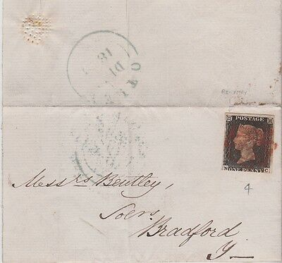 WOW QV COVER 1840 WITH 3 MARGIN 1d PENNY BLACK STAMP PLATE 4 RED MX HI CAT $944+