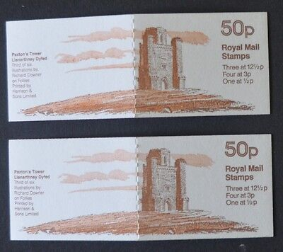 1982 Pair 50p Follies No3 Paxton's tower Booklets FB19A/B