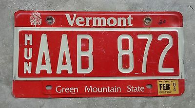Vermont  2004 MUN  license plate #  AAB  872