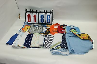 Mixed Brands Lot of 19 Infant Boy Bibs Bath Towels Cloth Dipper Burp Cloth