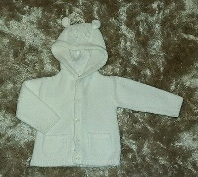 Baby Girls Cream Bear Ears Chunky Knit Jumper Cardigan Hooded Jacket 6-9 Months