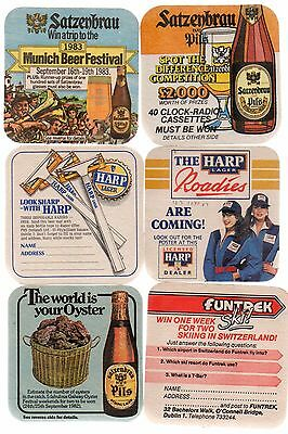 Six 1980's Harp Lager Beermats Featuring Special Offers