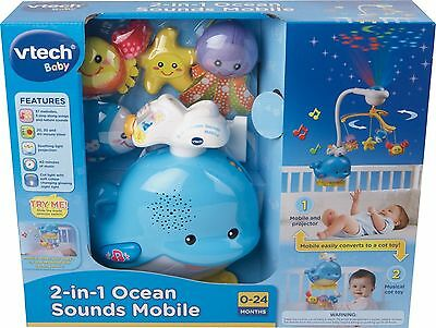 VTech Baby 2 In 1 Ocean Sounds Whale Cot Mobile With Ceiling Light Projector NEW