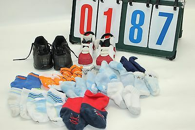 Lot of 34 Infant Boy Socks Newborn Nike Sz 4c Joran 3c