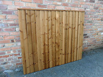 A Premium Heavy Duty Brown Treated 6x5 5ft Timber Wood Fence Panel Fencing