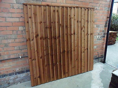A Premium Heavy Duty Brown Treated 6x6 6ft Timber Wood Fence Panel Fencing