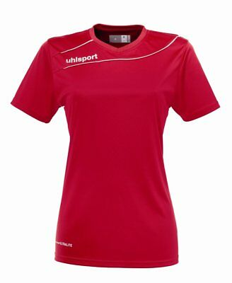 Uhlsport Womens Sports Training Football Short Sleeve T-Shirt Top Red White