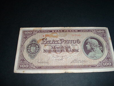 Old Vintage  Banknote Hungary 100  Pengo  1945  (189