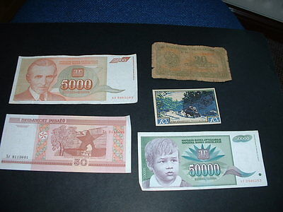 5 Old  World Banknotes  As In Picture   N2