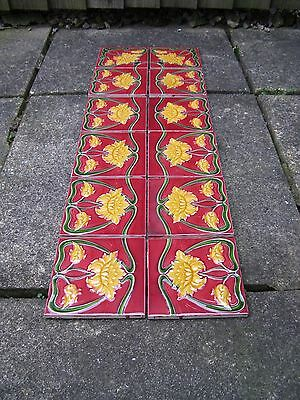 Set of 12 Antique Post-Victorian Art Nouveau Fireplace Tiles Alfred Meakin