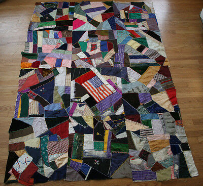 Antique Vintage Crazy Quilt Top Signe 1914 Embroidered Velvet Silk American Flag