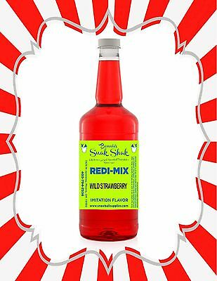 Shaved Ice Syrup - WILD STRAWBERRY FLAVOR IN LONG NECK QUART SIZE #1SNOBALL