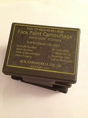 3 x British Army Issue Cam Cream with Mirror . face paint . camouflage.