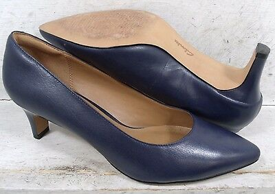 Clarks Womens Crewso Wick Navy Blue Leather 16819 Heels Pumps Shoes size 9 M