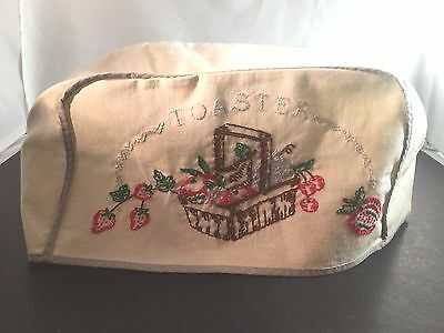 Vintage Embroidered TOASTER COVER Fruit Basket White w/ Gray Trim
