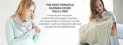 New Nuroo Nursing Cover Scarf Breastfeeding Hooter Hider Covers Gray Stripe