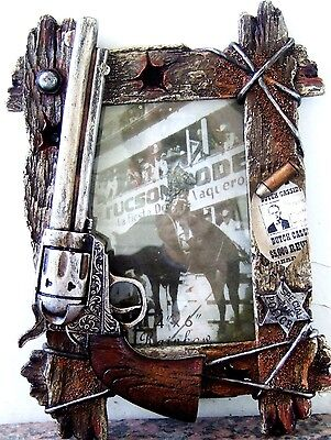 "Picture Frame Western Cowboy Gun, Bullet,Badge,Wanted Poster 4"" X 6"" Photo"