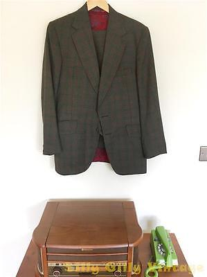 Burton Vintage 70s Men's Grey Red Check Tweed 3 Piece Suit Paisley 40C 34W 28.5L