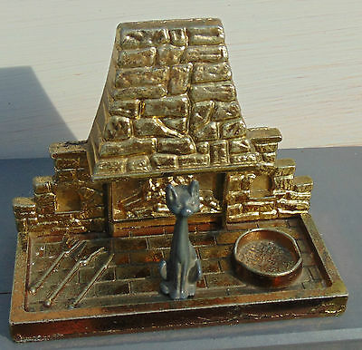 Vintage Miniature Brass Brick Fireplace, Fire Irons & Bowl, and Cat. Dolls House