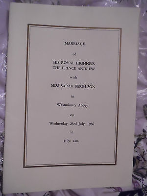 Prince Andrew And Sarah Ferguson Royal Wedding Order Of Service 1986 (Rare)