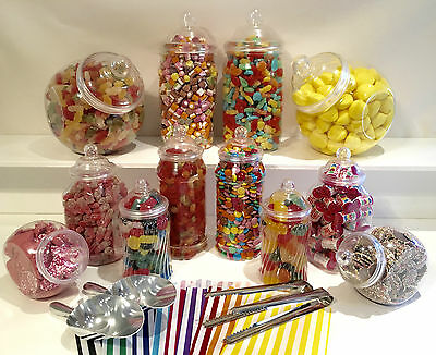 JUMBO Plastic Sweet Jars 12 jars 100 bags 2 Scoops 2 tongs DIY Buffet Storage