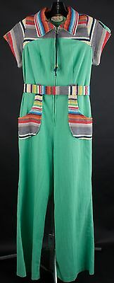 VTG 70s Green Jumpsuit with Rainbow Striped Accents Size XS/S #1160 1970s Disco