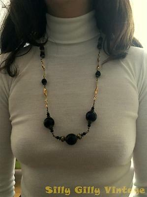 1970s Vintage Mod Ladies Gold Tone Chunky Black Wooden Deco Necklace Fish Hook
