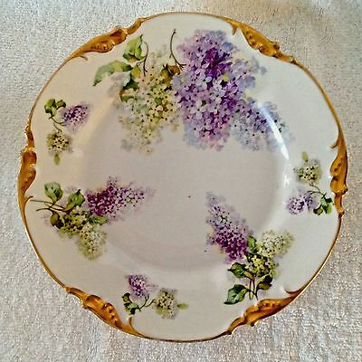 """PROV SXE E.S. GERMANY 8 1/2"""" LILAC FLOWERS FLORAL Cabinet Plate GOLD ORNATE RIM"""
