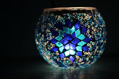 Mosaic Glass Tealight Candle Holders Set of 4 Glass Candle Holders