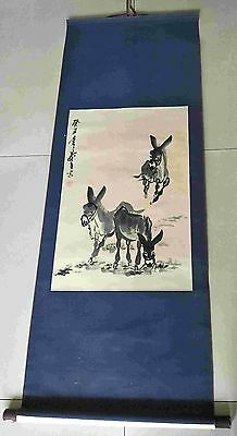 Chinese antiques hand painting scroll Three donkeys by HUANGZHOU mark