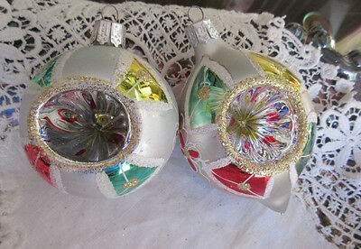 Lot of 2 Vintage Glass Christmas Ornaments INDENTS Stencil Tear Drop