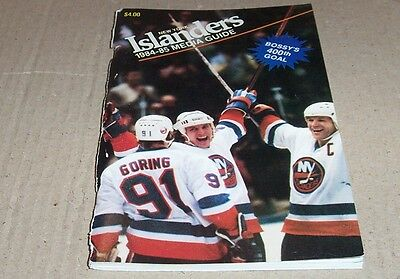 1984-85 New York Islanders Media Guide Yearbook Bossy 400Th Goal On Cover