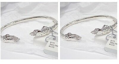 Pair Praying Hands  Sterling Silver West Indian Bangles Bracelet Jamaica Cuff