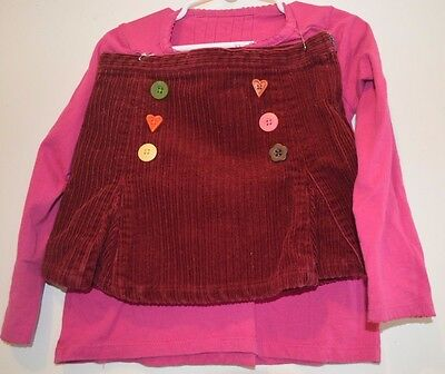 Gymboree Outfit size 4 Girls Pink red Skirt Long Sleeve Top