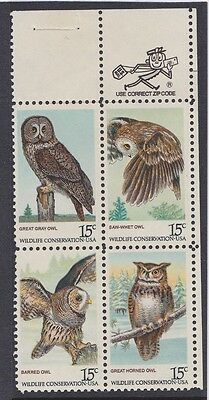 America : Wildlife Conservation U.S.A. Block of 4 x 15c Stamps, MNH