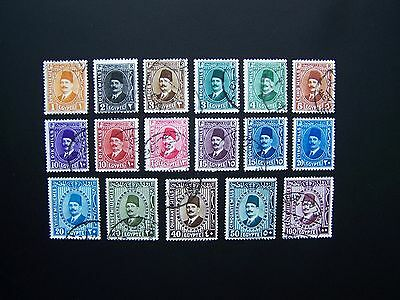 Egypt Stamps 1927 Year Nice Set, Scott # 128-132, 135-146. Used