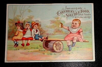 graphic Victorian celluloid trade card  advertising Carnack's Soluble Food
