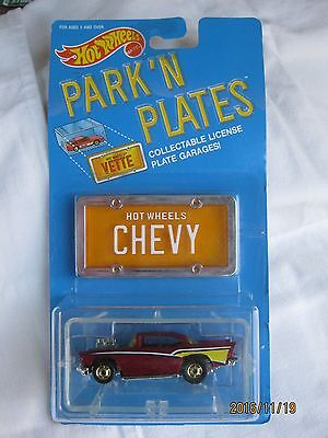 Hotwheels Rare 1988 Park 'N Plates 57 Chevy Metallic Red Body Mint In Card