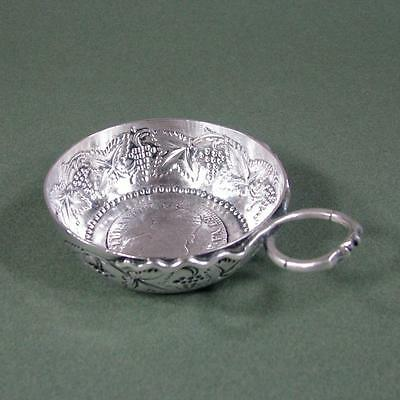19th c. Silver Wine Taster Tastevin w/ Mounted French Louis XVI 1779 Coin, 98 gm