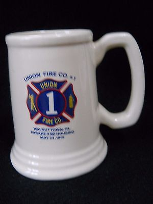Vintage 1975 Union Fire Co # 1 Walnuttown Pa Parade & Housing stein beer mug