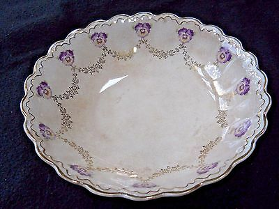 Vintage Steubenville China serving dish bowl with Pansy design & gold accents
