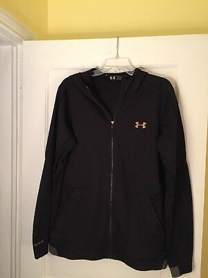 Men's Under Armour Zipped Hoodie Size Large In Black/gold