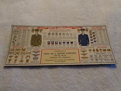 1941 + CATO OIL & GREASE CO. + WW2 Army & Navy How to Identify the Rank etc.