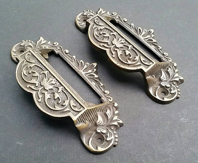 """2 vintage brass Victorian Apothecary Bin Pull Handles w.label holder 4 3/4"""" #A7"""