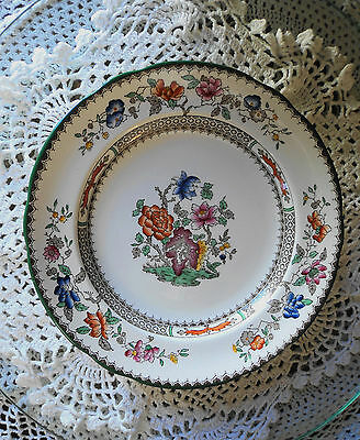 Copeland Spode Chinese Rose 9 In Scallopped Green Edge Luncheon Plate #629599 Vg