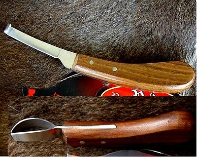 LOT of 2 SS Polished Wood Handle Horse Equine Grooming Tack Hoof Knife 98413