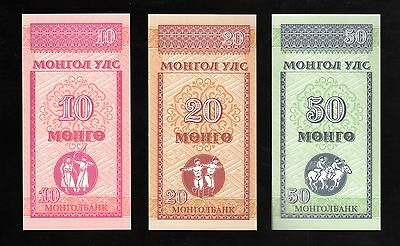 Banknote World Mongolia In Asia,3 Pce Of 10, 20 & 50 Mongo 1993,from Bundle